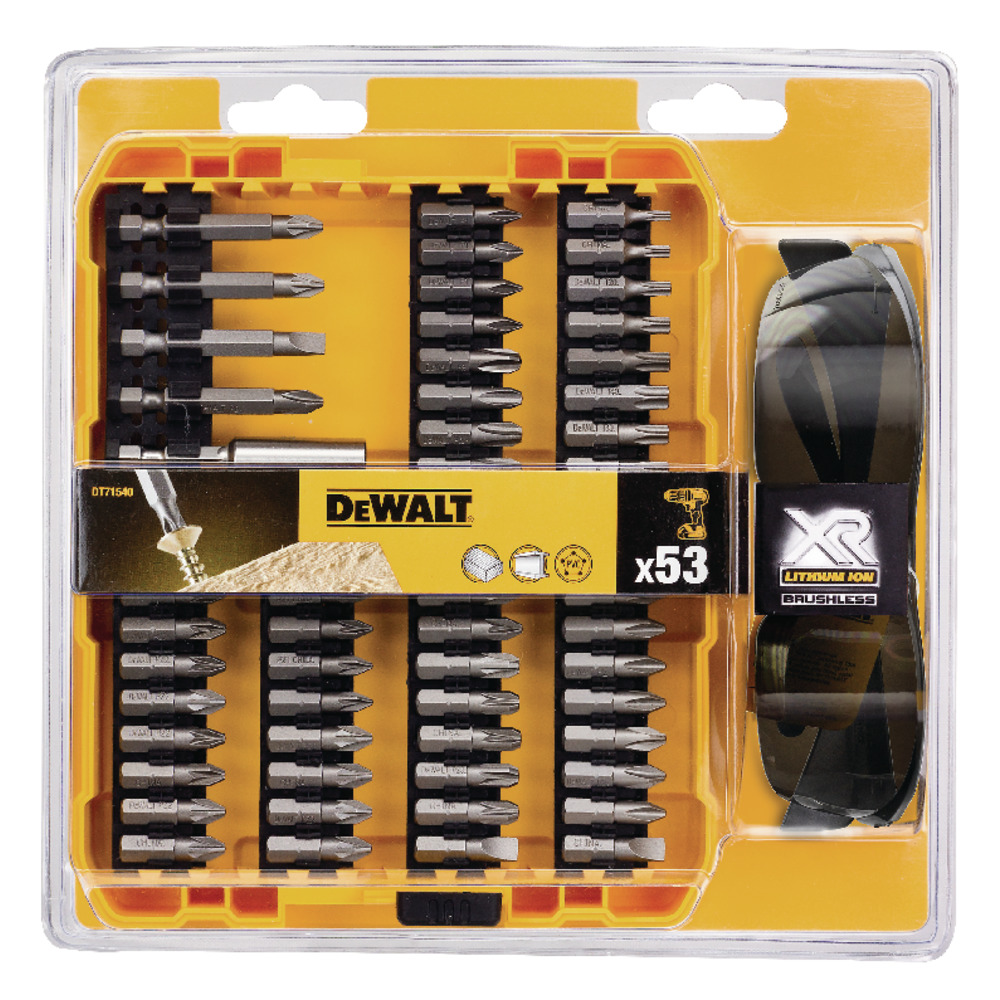 53PC SCREWDRIVING DRILL BIT SET AND SAFETY GLASSES DT71540-QZ Image