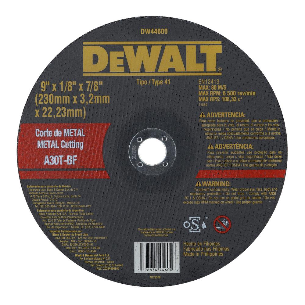Disco De Corte - Metal 9'' X 3,2mm X 7/8'' DW44600 Image