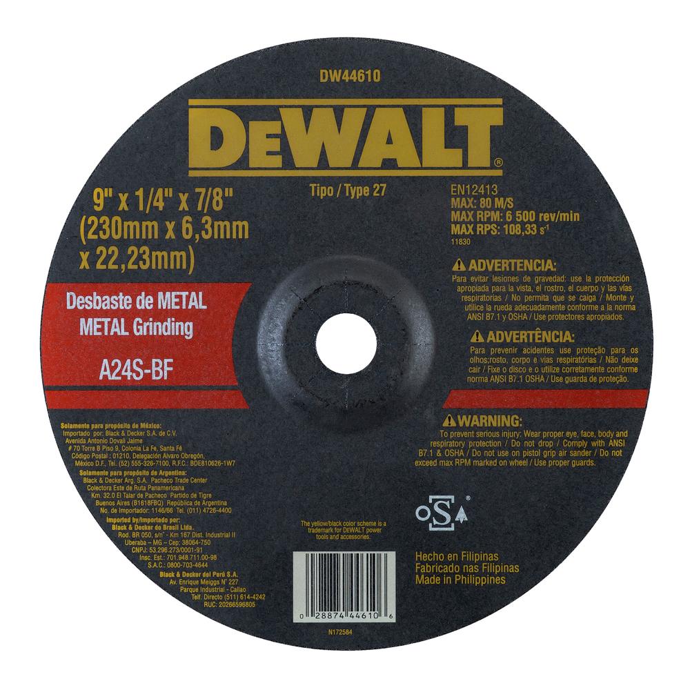 Disco De Desbaste - Metal 9'' X 6,3mm X 7/8'' DW44610 Image