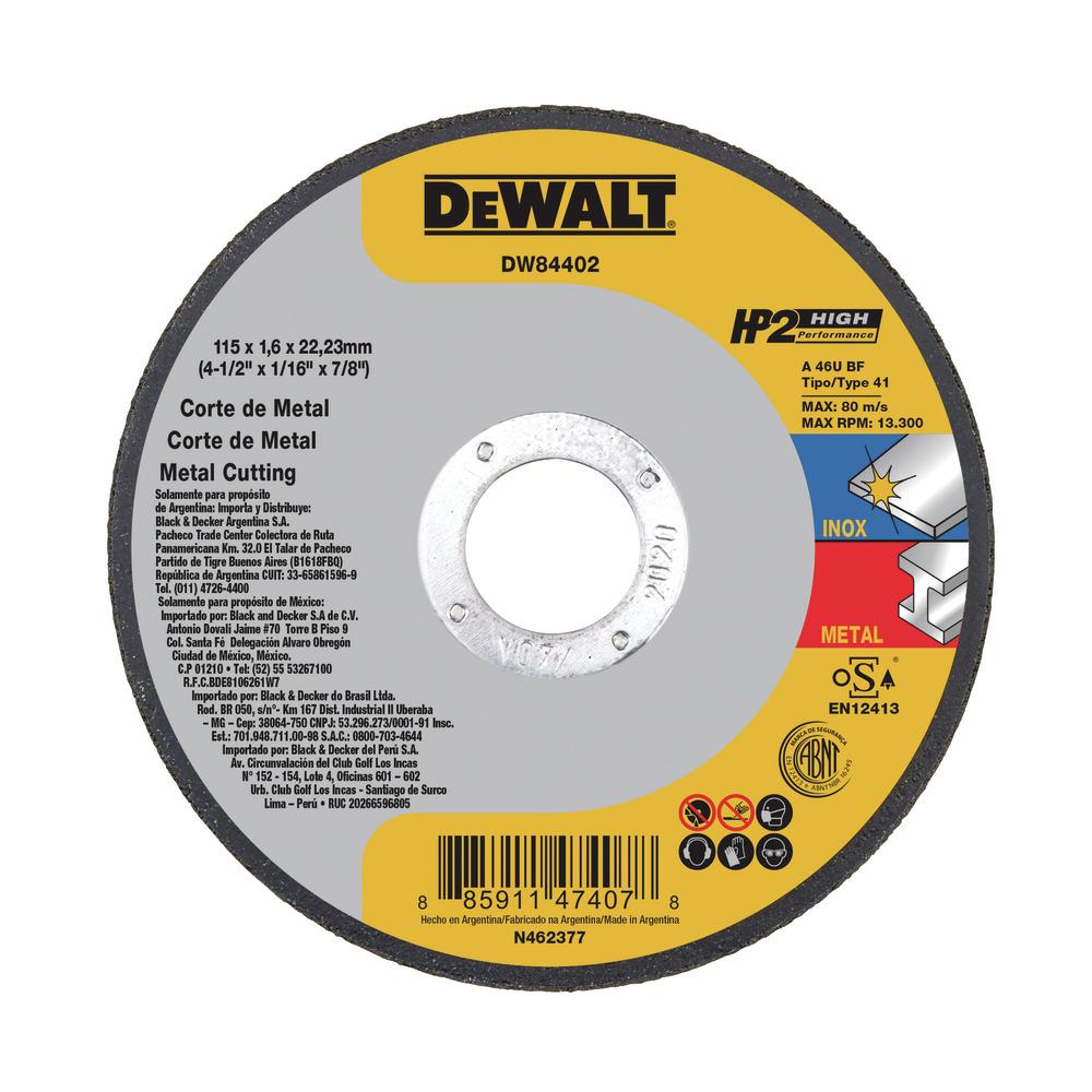 "Disco De Corte 4-1/2"" X 1/16"" X 7/8"" Tipo 41 - Alta Performance DW84402 Image"