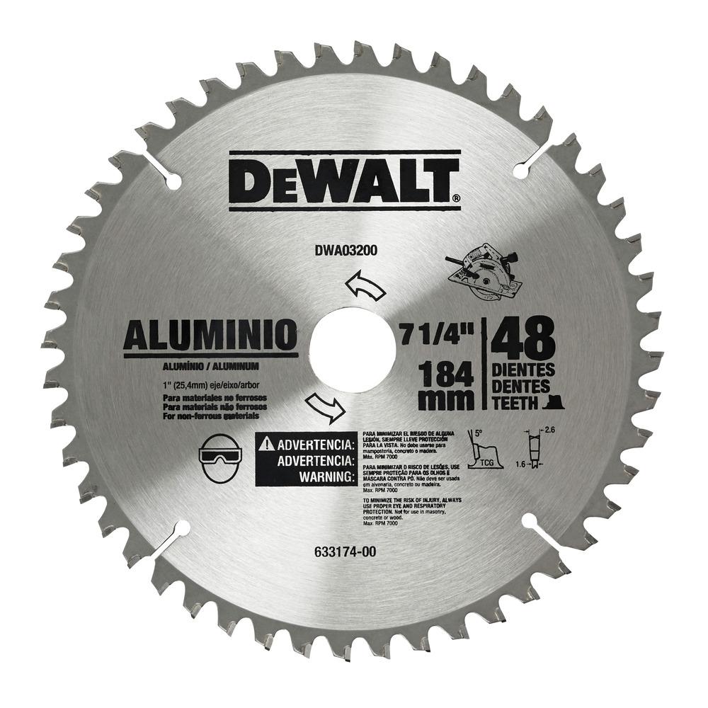 """7-1/4"""" 48D - Lâmina Serra Circular Alumínio DWA03200 Image"""